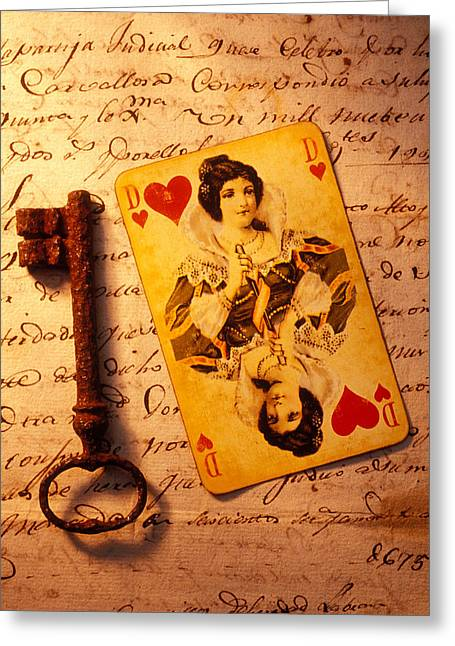 Playing Cards Photographs Greeting Cards - Old playing and key Greeting Card by Garry Gay