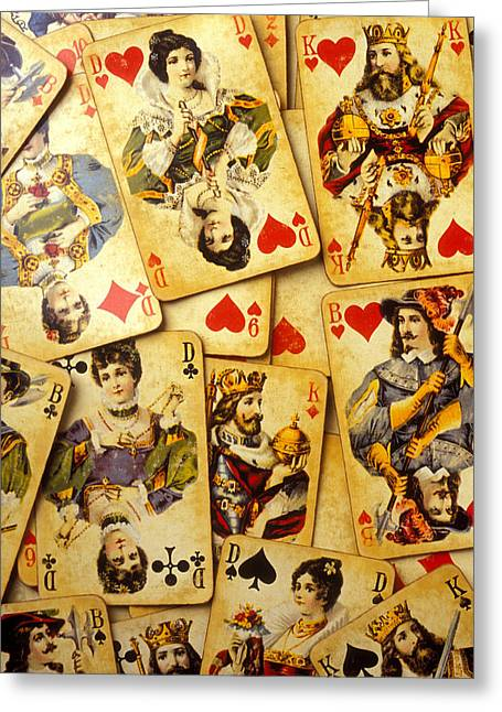 Playing Cards Greeting Cards - Old playing cards Greeting Card by Garry Gay