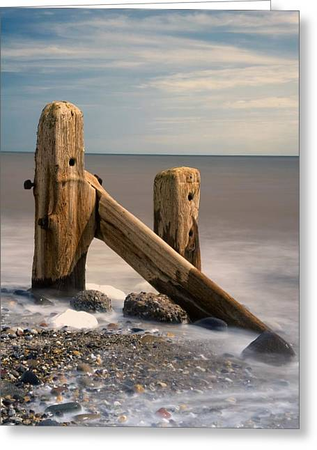 Oceanic Landscape Greeting Cards - Old Post In Sea, Humberside, England Greeting Card by John Short