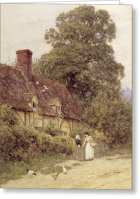 Half-timbered Greeting Cards - Old Post Office Brook near Witley Surrey Greeting Card by Helen Allingham