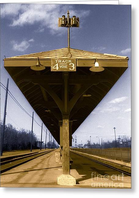 Wooden Platform Greeting Cards - Old Railway Platform Greeting Card by Gordon Wood