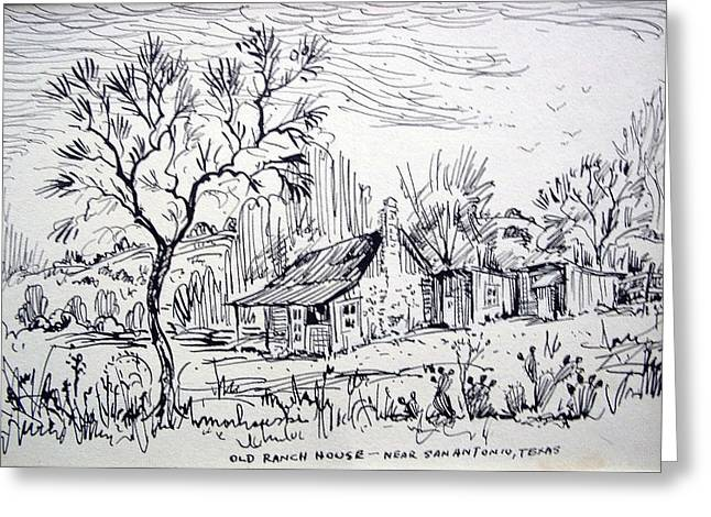 Old Cabins Drawings Greeting Cards - Old Ranch House Greeting Card by Bill Joseph  Markowski