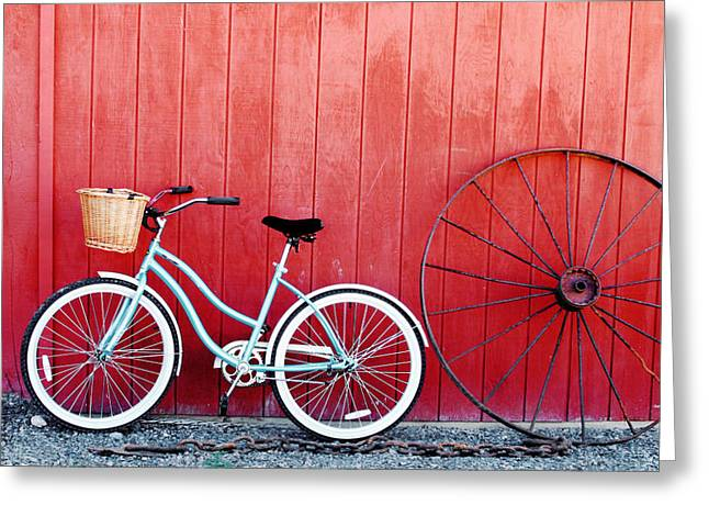 Wagon Wheels Greeting Cards - Old Red Barn and Bicycle Greeting Card by Margaret Hood