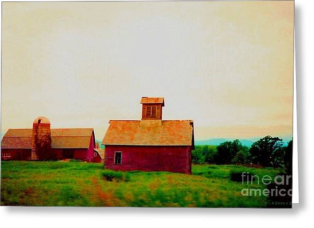 Wood Painitng Greeting Cards - Old Red Barn At Sunrise Greeting Card by Annie Zeno