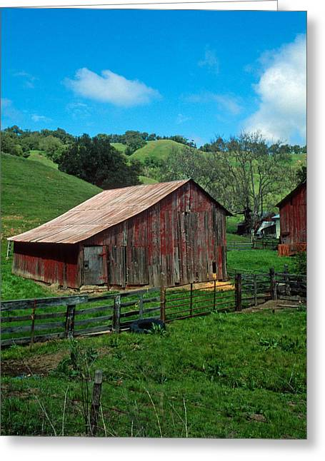 Red Buildings Greeting Cards - Old Red Barn Greeting Card by Kathy Yates