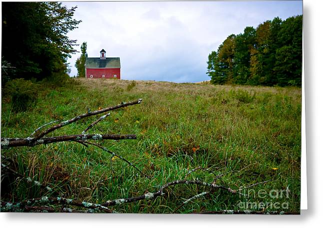 Old Red Barn On The Hill Greeting Card by Edward Fielding