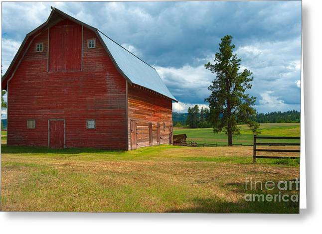 Recently Sold -  - Old Barns Greeting Cards - Old Red Big Sky Barn  Greeting Card by Sandra Bronstein