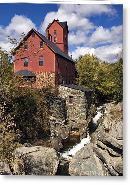 Grist Mill Greeting Cards - Old Red Mill - D000400 Greeting Card by Daniel Dempster