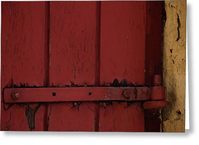 Door Hinges Greeting Cards - Old Red Old Yellow Greeting Card by Odd Jeppesen