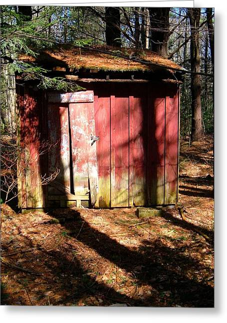 Shack Greeting Cards - Old Red Shack in the Woods Greeting Card by Geoffrey Coelho