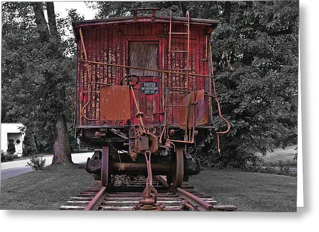 Caboose Greeting Cards - Old Red Train Greeting Card by Lori Coleman