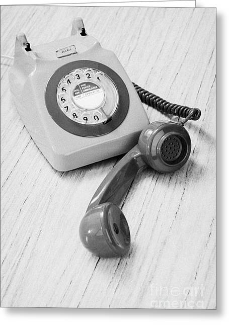1970s Fashion Greeting Cards - Old Retro Gpo 746 British Telecom Rotary Dial Phone Greeting Card by Joe Fox