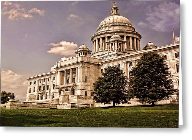 Old Rhode Island State House Greeting Card by Lourry Legarde