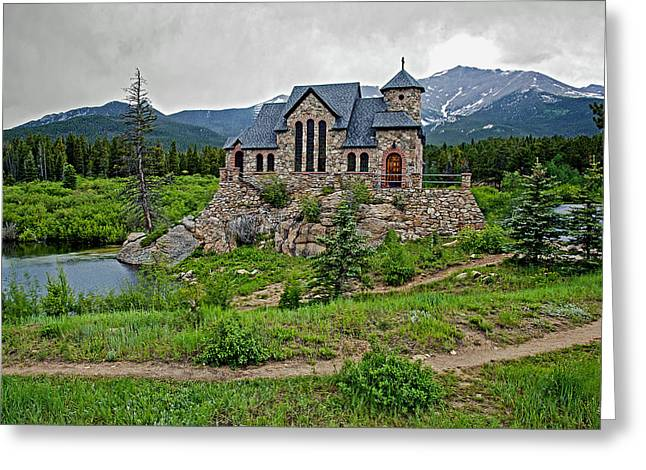 Tress Greeting Cards - Old Rock Church On A Cloudy Day Greeting Card by James Steele