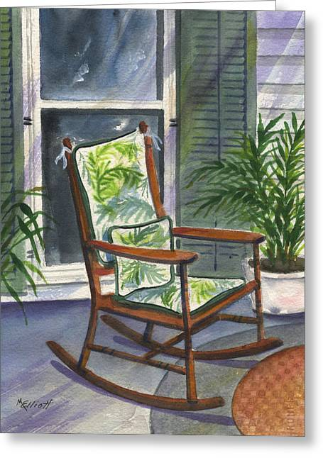 Rocking Chairs Paintings Greeting Cards - Old Rocker Greeting Card by Marsha Elliott