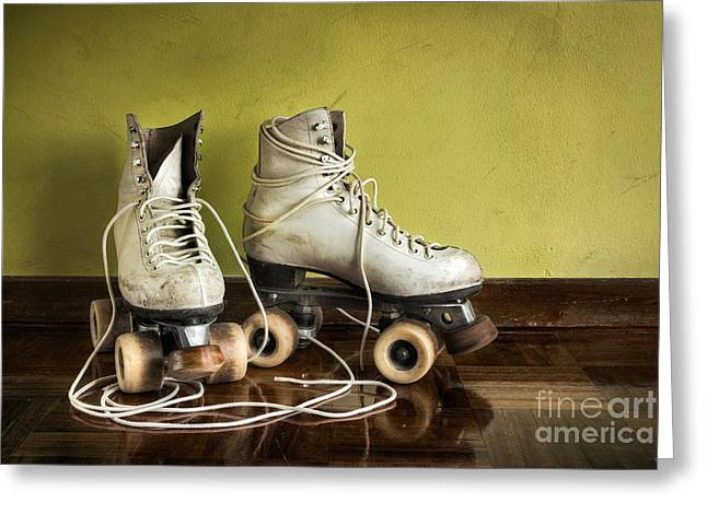 Antique Skates Greeting Cards - Old Roller-Skates Greeting Card by Carlos Caetano