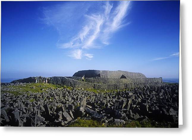 Inishmore Greeting Cards - Old Ruins Of A Fort On The Landscape Greeting Card by The Irish Image Collection