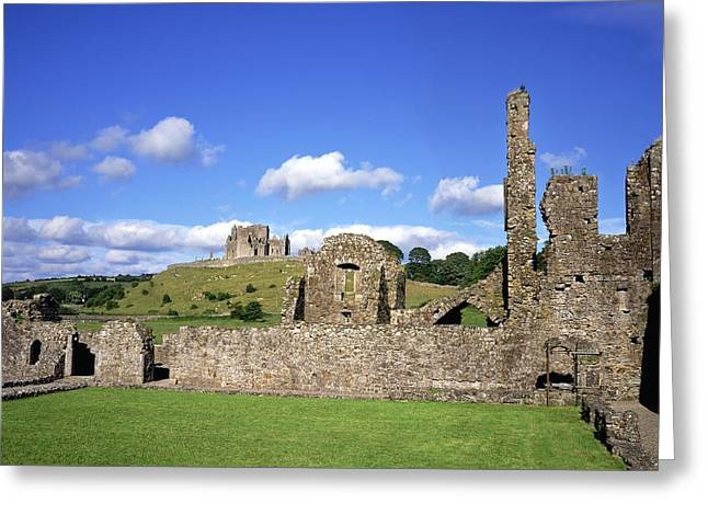 Collection Of Rocks Greeting Cards - Old Ruins Of An Abbey With A Castle In Greeting Card by The Irish Image Collection
