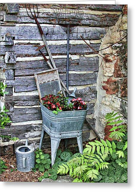 Sprinkling Can Greeting Cards - Old Rural Garden Scene Greeting Card by Linda Phelps