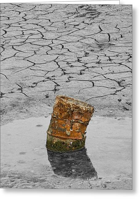 Dry Lake Greeting Cards - Old Rusted Barrel Abstract Greeting Card by James BO  Insogna