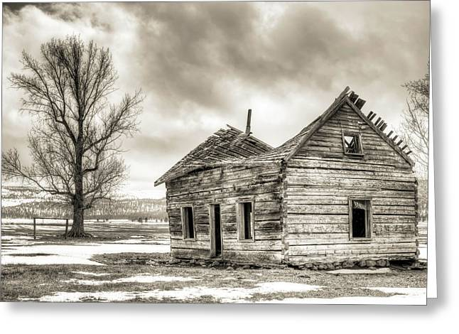 Old Farm Greeting Cards - Old Rustic Log House in the Snow Greeting Card by Dustin K Ryan