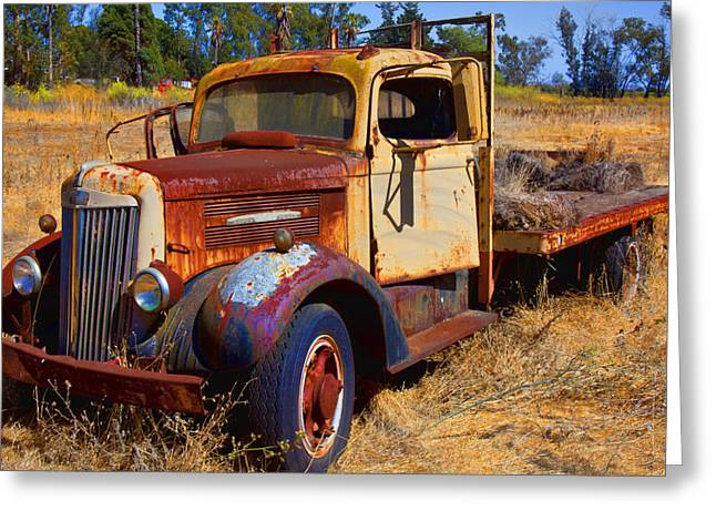 Old Trucks Greeting Cards - Old rusting flatbed truck Greeting Card by Garry Gay