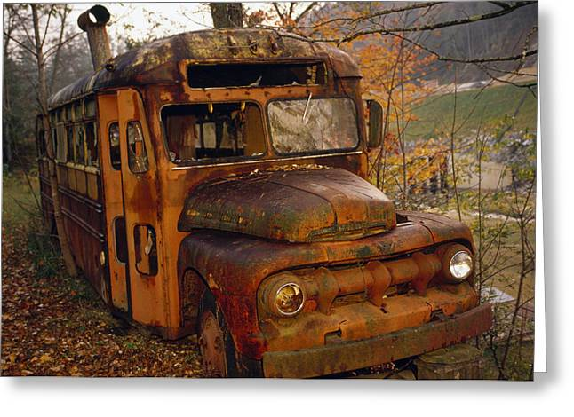 Plant Physiology Greeting Cards - Old Rusting School Bus Sitting Among Greeting Card by Raymond Gehman