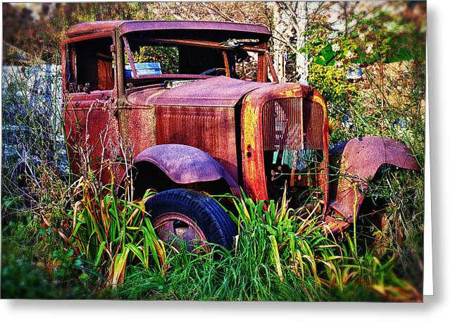 Rusty Pickup Truck Greeting Cards - Old rusting truck Greeting Card by Garry Gay