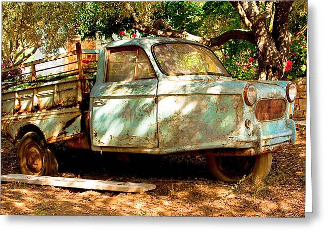 Old Relics Greeting Cards - Old rusty truck Greeting Card by Tom Gowanlock