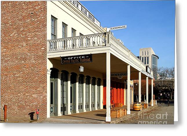 Old Sacramento Greeting Cards - Old Sacramento California . Central Pacific Railroad Office Building . 7D11699 Greeting Card by Wingsdomain Art and Photography