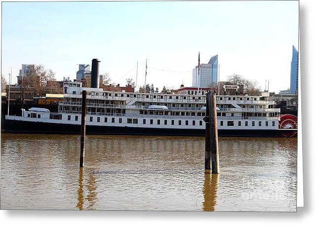 Paddle Wheel Greeting Cards - Old Sacramento California . Delta King Hotel . Paddle Wheel Steam Boat . 7D11434 Greeting Card by Wingsdomain Art and Photography