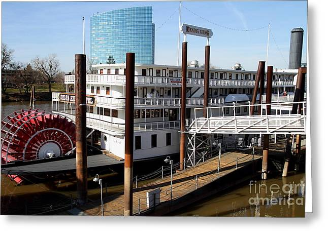 Delta Town Greeting Cards - Old Sacramento California . Delta King Hotel . Paddle Wheel Steam Boat . 7D11525 Greeting Card by Wingsdomain Art and Photography