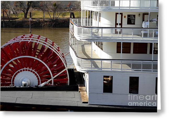 Paddle Wheel Greeting Cards - Old Sacramento California . Delta King Hotel . Paddle Wheel Steam Boat . 7D11526 Greeting Card by Wingsdomain Art and Photography
