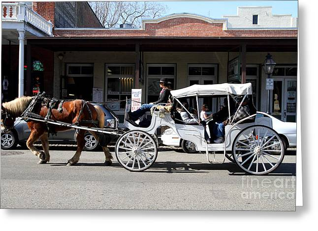 Old Sacramento Greeting Cards - Old Sacramento California . Horse Drawn Buggy . 7D11482 Greeting Card by Wingsdomain Art and Photography