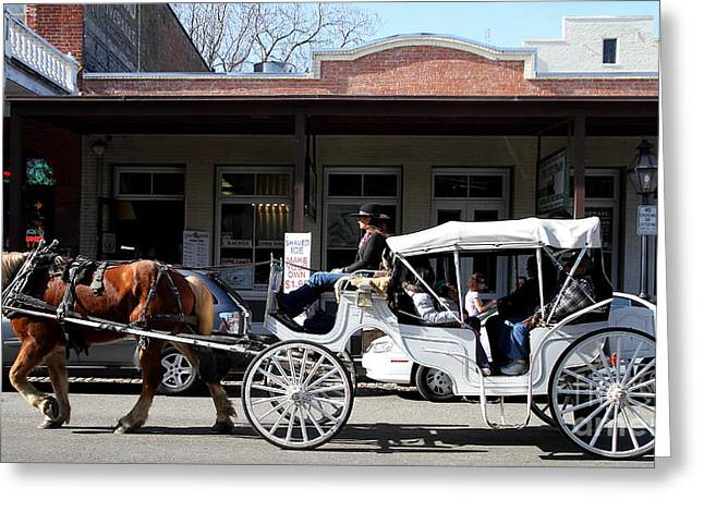 Old Sacramento California . Horse Drawn Buggy . Long Cut . 7D11482 Greeting Card by Wingsdomain Art and Photography