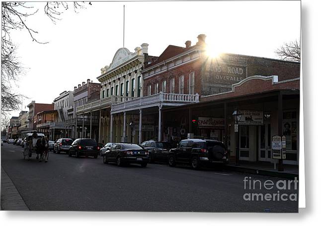 Old Sacramento Greeting Cards - Old Sacramento California In Partial Silhouette . 7D11716 Greeting Card by Wingsdomain Art and Photography