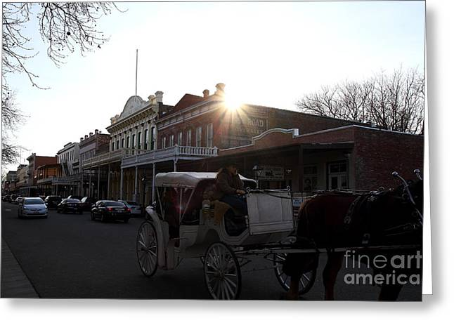 Old Sacramento Greeting Cards - Old Sacramento California In Partial Silhouette . 7D11719 Greeting Card by Wingsdomain Art and Photography