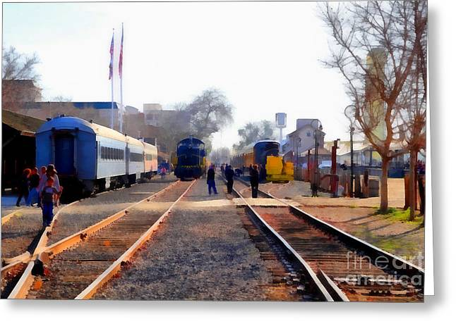 Tanker Train Greeting Cards - Old Sacramento Train Depot Station . 7D11636 Greeting Card by Wingsdomain Art and Photography