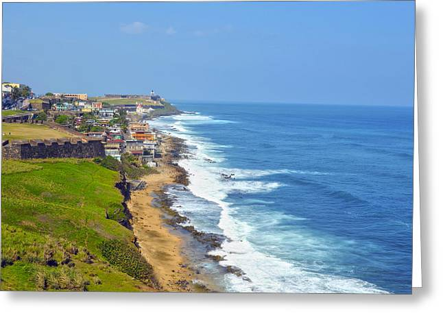 Old San Juan Greeting Cards - Old San Juan Coastline 3 Greeting Card by Stephen Anderson