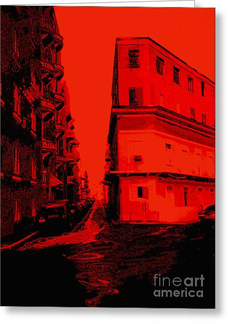 Old San Juan Greeting Cards - Old San Juan in Red and Black Greeting Card by Ann Powell