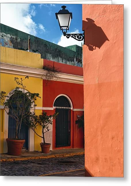 Caribbean Corner Greeting Cards - Old San Juan Street Corner Greeting Card by George Oze