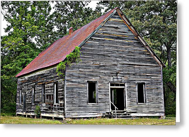 Red Roofed Barn Greeting Cards - Old School Alabama Greeting Card by Amanda Vouglas