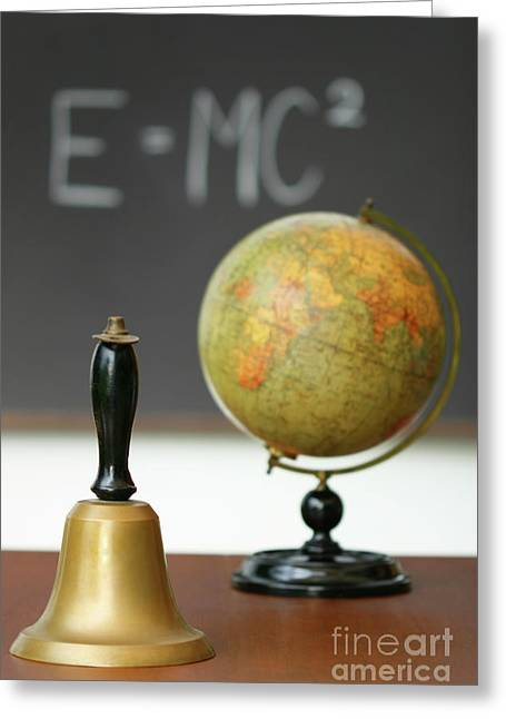 Educate Greeting Cards - Old school bell on desk  Greeting Card by Sandra Cunningham