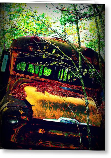 Danae Greeting Cards - Old School Bus Greeting Card by Dana  Oliver