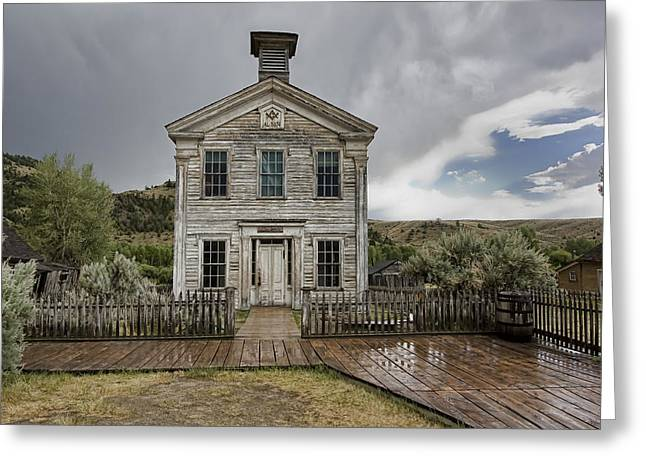 Temple West Greeting Cards - Old School House After Storm - Bannack Montana Greeting Card by Daniel Hagerman