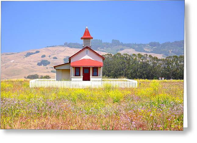 San Simeon Greeting Cards - Old School House in a Field Greeting Card by C Thomas Cooney