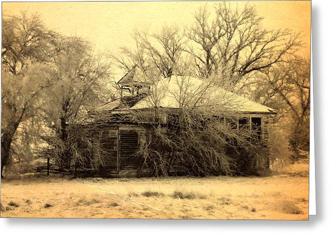 Shed Digital Art Greeting Cards - Old School House Greeting Card by Julie Hamilton