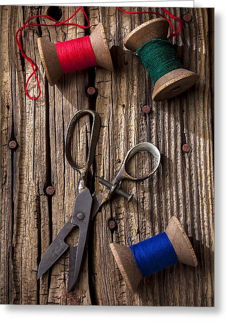 Mend Greeting Cards - Old scissors and spools of thread Greeting Card by Garry Gay