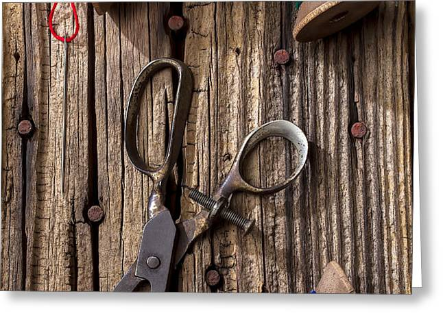 Old scissors and spools of thread Greeting Card by Garry Gay