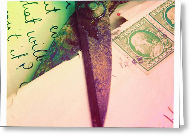 Love Letter Greeting Cards - Old Scissors Cutting Letters Greeting Card by Jill Battaglia